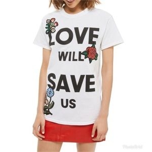 TopShop Love Will Save Us Appliqué Tee Women Med